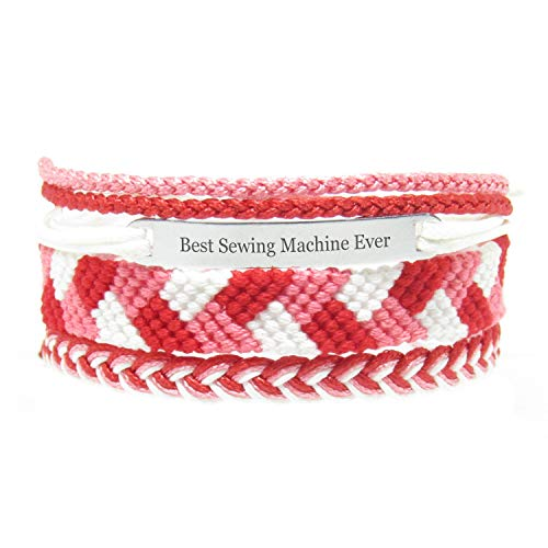 Miiras Job Handmade Bracelet for Women - Best Sewing Machine Ever - Red - Made of Embroidery Thread and Stainless Steel - Gift for Sewing Machine