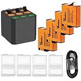 Vemico - Batería de Repuesto para Gopro Hero 7/6/5 Black Hero 2018, 4 baterías Recargables (1500 mAh) y 3 Canales de Carga USB Tipo C con Go Pro Action CAM