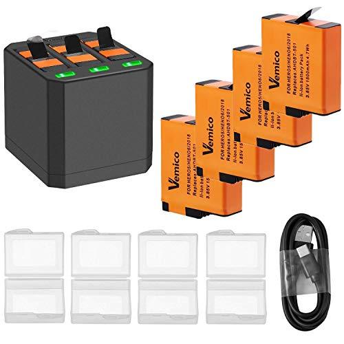 Vemico Vervanging voor Gopro acculader Hero 7/6/5 Black Hero 2018 4-delige oplaadbare batterijen (1500 mAh) en 3-kanaals laadbox type C USB-batterijpack met Go Pro Action Cam(4 verpakking)