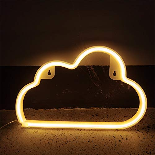 Neon Lights for Wall Decor USB or Battery Neon Signs for Bedroom Cloud Light for Christmas Birthday Party Living Room Girls Kids Room (Yellow)