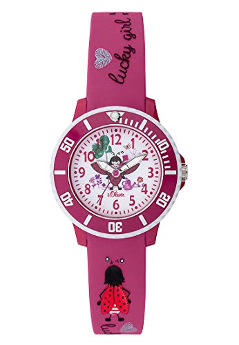 s.Oliver Mädchen Analog Quarz Uhr mit Silikon Armband SO-3726-PQ