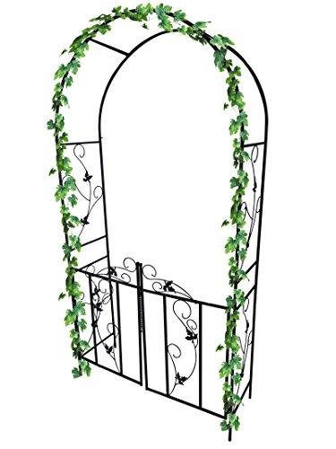 Dirty Pro ToolsTM arco da giardino in metallo con porta, arco per piante rampicanti, decorazione