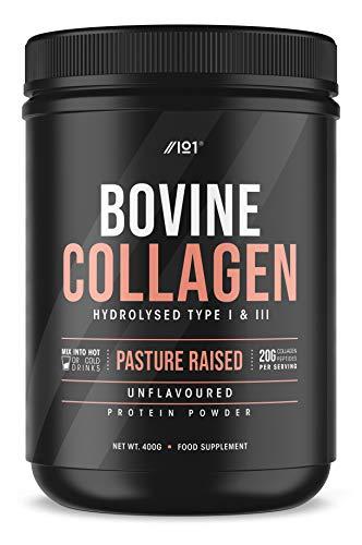 Grass Fed Collagen Protein Powder - Type I & III Pasture Raised New Zeland Bovine Hydrolysed Collagen Peptides - Halal, Kosher, Unflavoured, 400g