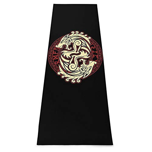 TPOKIM Celtic Harp Warrior Tattoos Yoga Mat-Upgraded Eco Friendly Non-Slip Exercise & Fitness Mat with Carrying Strap,Workout Mat for Pilates,Stretching,Meditation,70.8'X24'