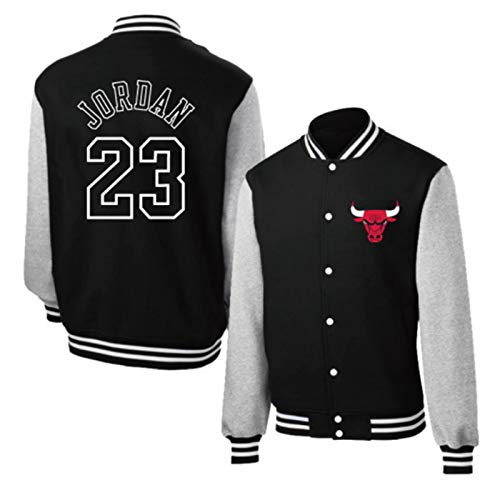 Michael Jordan Basketball Top Jacken - Chicago Bulls 23# Klassisches Retro Baseball Shirt für Damen und Herren Schwarz Mamba Basketball Swingman Sweatshirt Gr. XL, Jordan23# Black