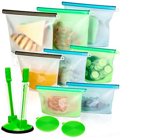 Reusable Food Storage Silicone Bags Set of 11