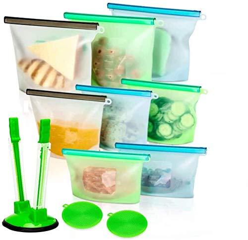 Reusable Silicone Food Storage Bags Set of 8 Pcs Zip Lock Top - Food Preservation Microwave Freezer Dishwasher Safe for Liquid/Food