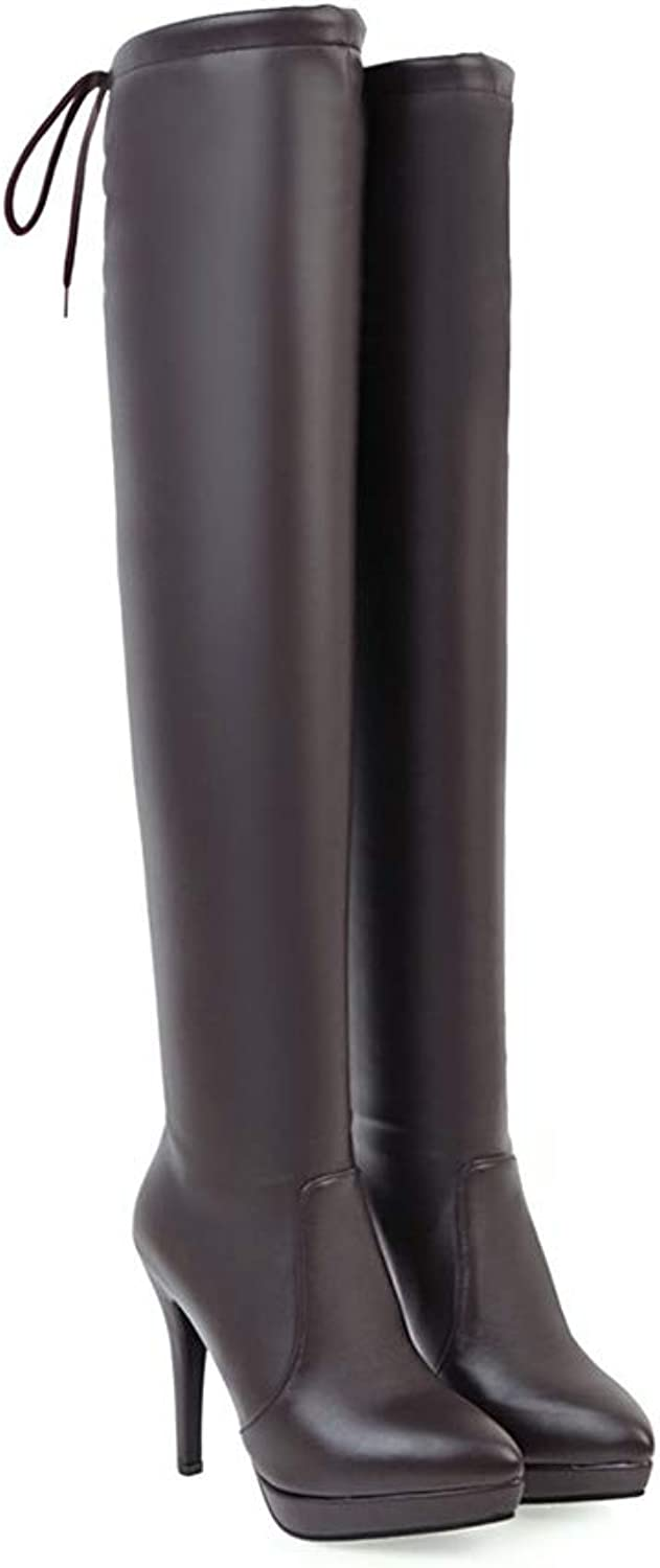 Women Fashion Soft PU Leather Over The Knee Boots, Sexy Slim Pointed Toe Long Boot, Winter Warm Lady High Heel Stiletto shoes