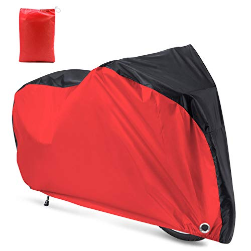 Roctee Bicycle Cover Waterproof Wind Rain Snow Proof Outdoor Mountain Bike Road Travel Bike Cycle Covers with Storage Bag, 78.7''(L) 27.6''(W) 43.3''(H) for XL Size (Black & Red)
