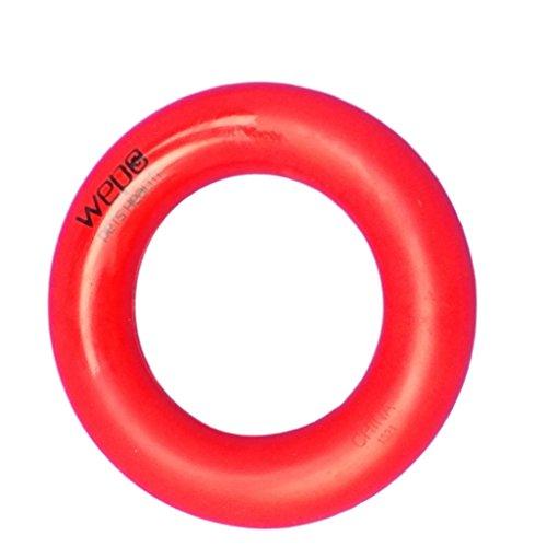 WEPO® Hundespielzeug-Ring/Robuster Naturkautschuk Kauring (Naturgummi) / Wurfring - für Welpen - Stabiler Hartgummiring - Welpenspielzeug - Rot -Ø 9cm