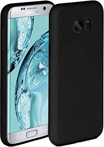 ONEFLOW Soft Case kompatibel mit Samsung Galaxy S7 Edge Hülle aus Silikon, erhöhte Kante für Bildschirmschutz, zweilagig, weiche Handyhülle - matt Schwarz