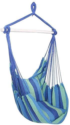 DX Hamaca con hamaca de viaje al aire libre Hamaca de jardín cama colgante cuerda silla mecedora con 2 cojines (color azul)