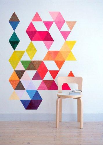 Mid Century Triangles Colorés Moderniste Eames - 103 x 148 cm