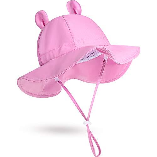 Syhood Sombrero de Sol de Playa de Bebé con Orejas de Oso (Rosa, 0-12 Meses)