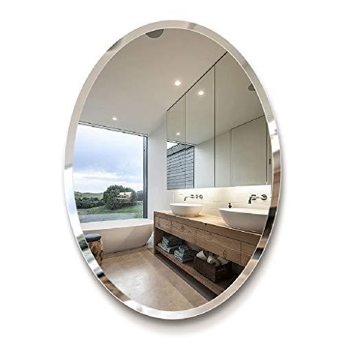 Espejo Biselado Sin Marco Ovalado, Montaje En Pared Espejo Plateado Biselado HD De 5 Mm para Tocador De BañO Sala De Estar Dormitorio