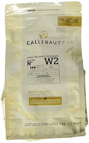 Callebaut N° W2 (28% cacao) - Gotas de cobertura de chocolate blanco belga (callets) fáciles de fundir La emblemática receta de chocolate blanco de Callebaut - Sabor equilibrado a leche y nata con sutiles notas de vainilla es un chocolate de gran ver...