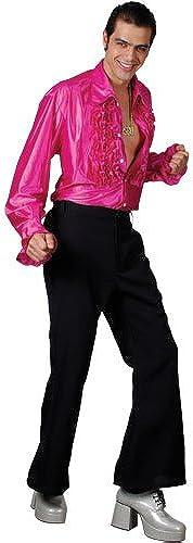 (XL) Herren Disco Rüschenshirt Kostüm für 70s disco Pop Rock Kostüm Herren Herren XL Hot Rosa