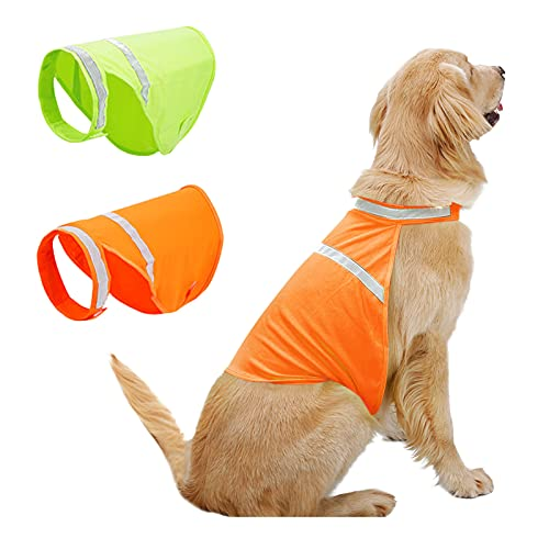 MORVIGIVE Dog Reflective Vest, High Visibility Dog Safety Vest for Outdoor Activity Day and Night, Adjustable Dog Safety Jacket Protects Small Medium Large Dogs from Cars, Walking & Hunting Accidents