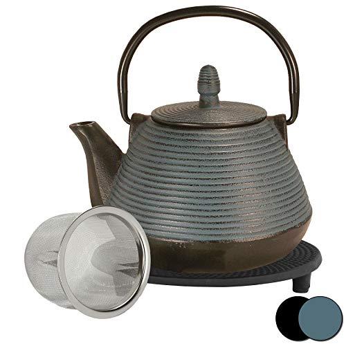 theebloem | gietijzeren theepot Xian-Jing | gietijzeren theepot met zeef | incl. gratis onderzetter in zwart | theepot binnen volledig geëmailleerd | keuze uit kleuren en maten