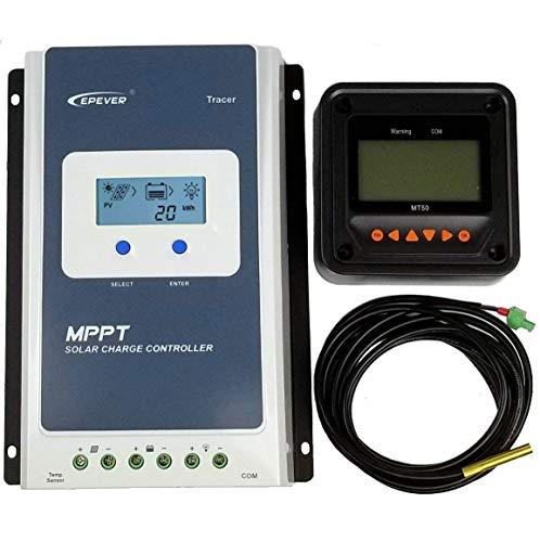 EPEVER MPPT Controlador de carga solar 30A + MT50 Monitor + Temp.Sensor Tracer 3210AN Paquete para...