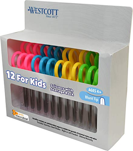 Westcott 14871 5' School Pack of Kids Scissors with Anti-Microbial Protection, Blunt, Assorted Colors (Pack of 12)