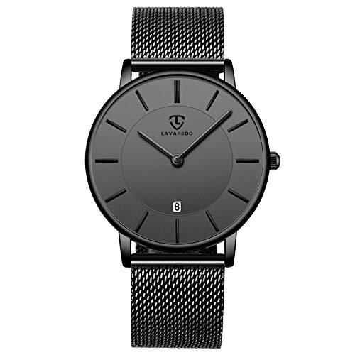 Herren Uhren Ultra Flach Schwarze Minimalistische Wasserdicht Analog Quarz Männer Armbanduhr Datumsanzeige Klassisch Moderne Uhr mit Edelstahl Armband