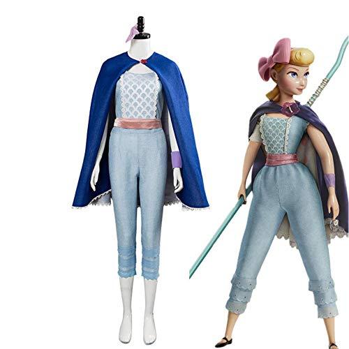 CHANGL Film Toy Story 4 BO Peep Cosplay Kostüm Schäferin Woody Top Hosen Umhang Komplettset Anzug Mädchen Frau Halloween Karneval Kleidung
