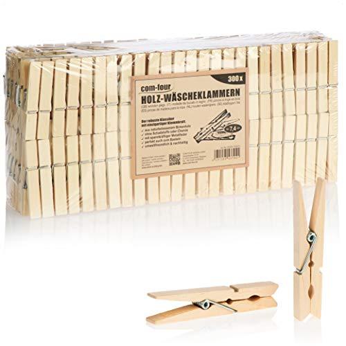 com-four® 300x Pinces à Linge en Bois - Pinces à Linge en Bois de Bouleau - Pinces à Linge en Bois Non traité (300 pièces - Bouleau)