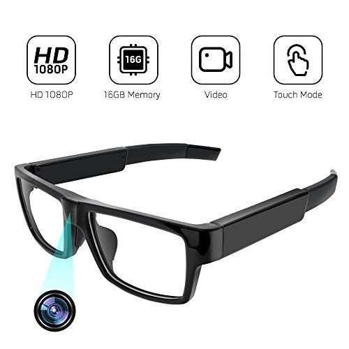 Video Record Camera Glasses, 1080P Surveillance Glasses Camera, a Wearable and Portable 16G Video Recorder with Wide Angle for Daily Life/Training/Teaching/Outdoor Sports or Meeting Record (16GB SD
