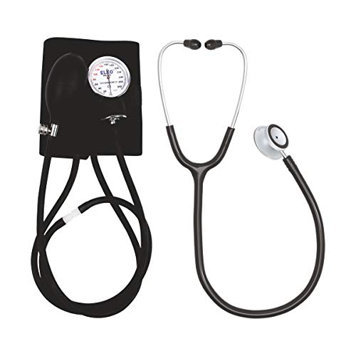 ELKO EL-411S Dial Type Aneroid Sphygmomanometer/Blood Pressure Monitor with Carry Bag and Deluxe Stethoscope (Black)