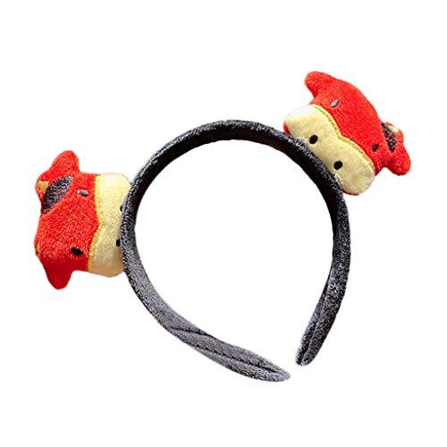 Leiouser - Diadema de peluche con diseño de vaca y ganado de vaca, para año nuevo, chino, cuerno de buey de animales, para el pelo, para fiestas, festividades, decoración para tocados