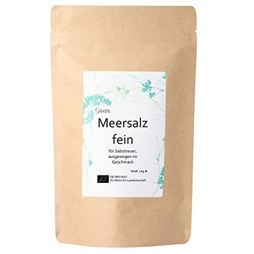 Suna® Meersalz fein   für Salzstreuer, ausgewogen im Geschmack   Großpackung 1 kg