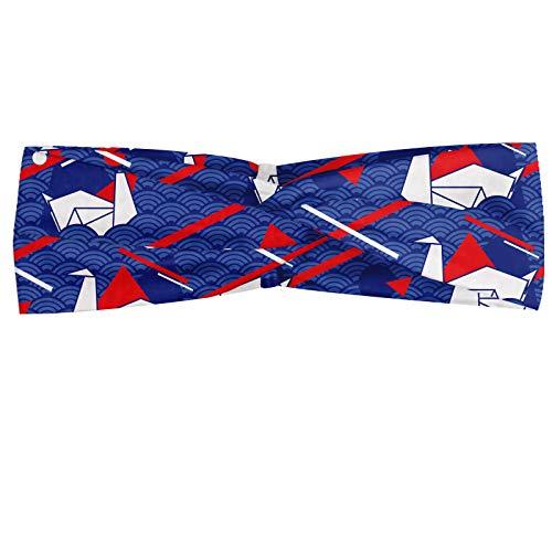 ABAKUHAUS Diadame Mar, Banda Elástica y Suave para Mujer para Deportes y Uso Diario Origami cisnes Seigaiha japonesa minimalista modelo de ondas, Bermellón persa azul