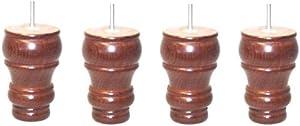 Vier gedrehtes Holz Möbelfüße ( 125 mm hoch) in einem dunklen Holz-Finish