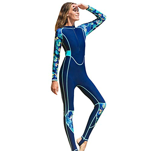 Fine Women's Full Body Thin Wetsuit, UV Protection Long Sleeves Dive Skin Suit - for Swimming/Scuba Diving/Snorkeling (Blue, XXL)