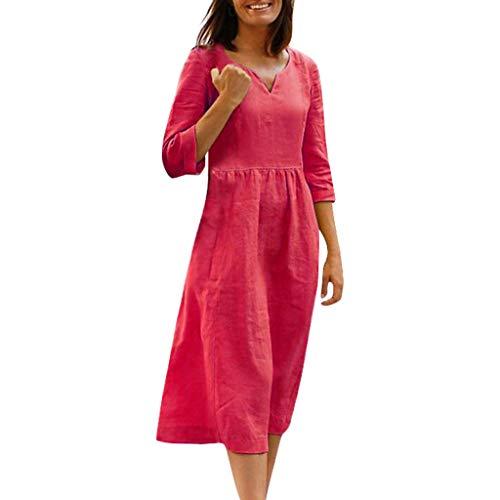 Lialbert Leinenkleid Dame Rundhals Schwingendes Sommerkleid HäNgerkleid Strandkleid T-Shirt-Kleid Langes 3/4-ÄRmeln Freizeit Kleider Swing-Kleid Tunika Rot