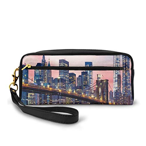 Estuche pequeño de piel sintética, puente de Brooklyn y horizonte inferior de Manhattan, bajo el amanecer rosa, imagen de larga exposición, bolsa de maquillaje