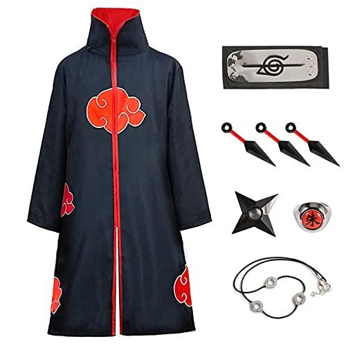 Amycute Itachi Mantello Naruto Costume, Naruto Cappotto Fascia Anello Collana Kunai Shuriken per Bambini Adulti Halloween Natale Cosplay