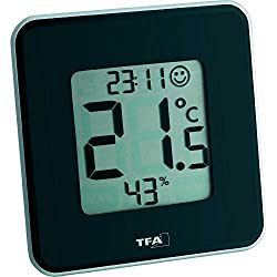 TFA Dostmann Style digital thermo-hygrometer, 30.5021.01, for room climate control, black