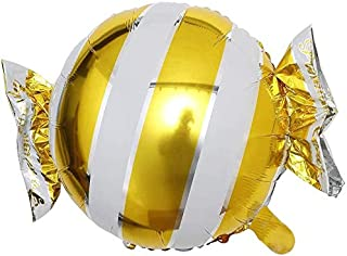 GulfDealz Cute Stripes Candy Shape Swirl Helium foil Balloon, for Party Decoration (65 * 48 cm) (Yellow)