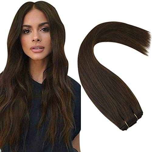 Sunny Dark Brown Hair Weft Extensions Sew in Human Hair Soft and Smooth Remy Hair Double Weft Hand Tied Weft 16 Inch 100g