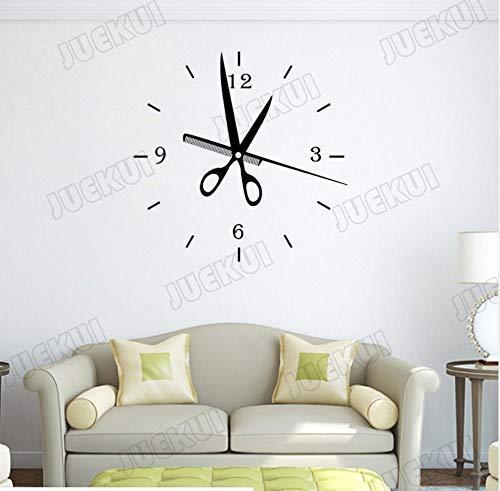 Tijeras Peine Reloj Patrón Pegatina De Pared Para Barbería Decoración Artística Salón...