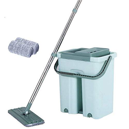 VHGYU Cubo para fregona de suelo de 360 ° plano para limpieza de fregona de microfibra autolavada, uso en seco húmedo (tamaño: juego 1; color: verde)