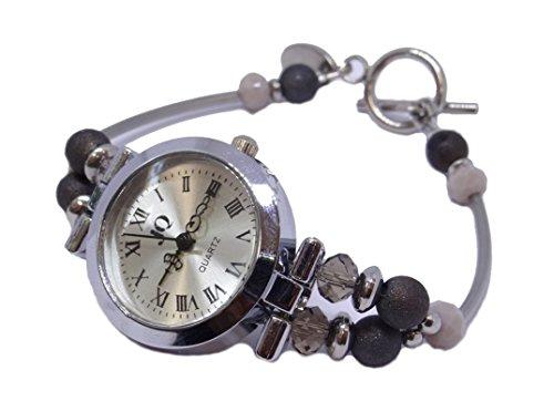 ARTemlos® Handmade Damen-Uhr aus Edelstahl, Metall und Perlen in grau (09)
