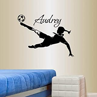 Wall Vinyl Decal Home Decor Art Sticker Custom Personalized Name Girl Woman Player Football Soccer Kicking Ball Sports Kids Bedroom Room Removable Stylish Mural Unique Design 821