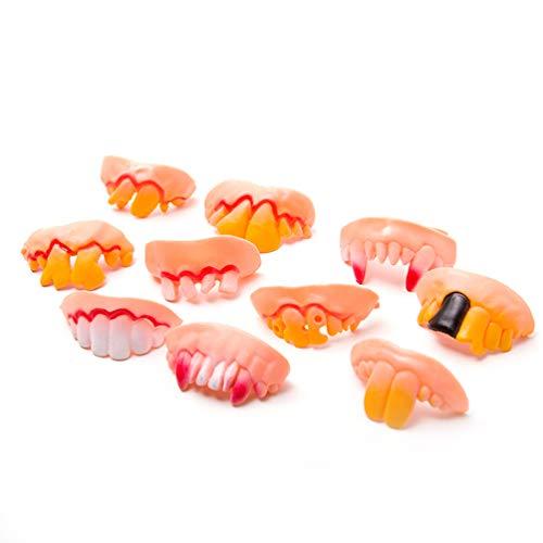 Wakauto Künstliche Zähne Lustige Verrückte Falsche Zähne Requisitenspielzeug für Halloween/Ostern/Maskerade - 5 Stück/Set (Zufällige Form)