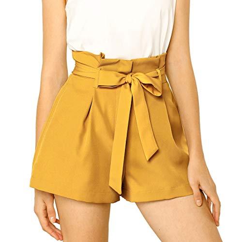 Allegra K Women's Bow Tie High Waist Short Paper Bag Shorts X-Small Yellow