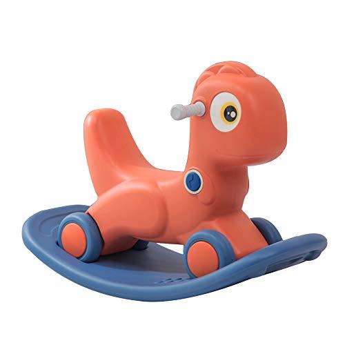 Dino - Cavallo a dondolo 2 in 1, a dinosauro, con ruote