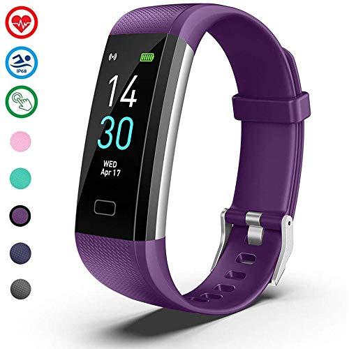 HUNDAN Rastreador de Ejercicios, Pulsera Deportiva Bluetooth Inteligente Ip68 Reloj Deportivo podómetro Impermeable para Hombres y Mujeres Púrpura