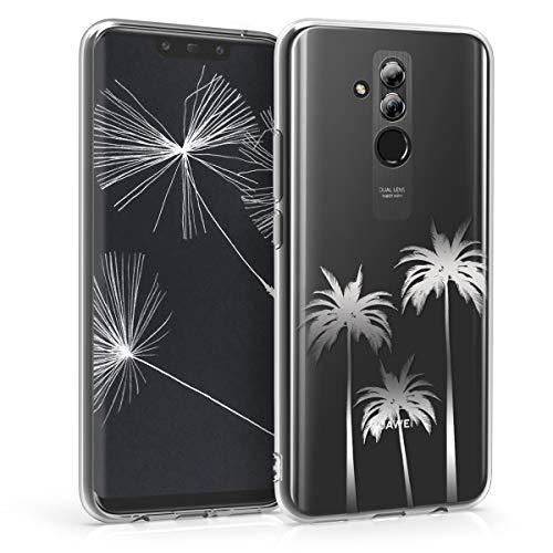 kwmobile Carcasa Compatible con Huawei Mate 20 Lite - Funda de TPU Tres Palmeras en Plata/Transparente